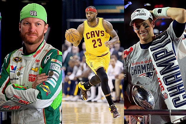 Dale Earnhardt, Jr., LeBron James, Tom Brady